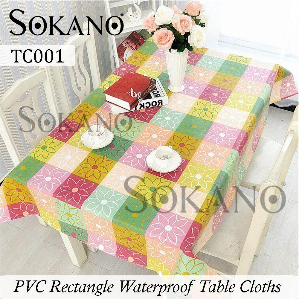 SOKANO PVC Rectangle Pastoral Style Waterproof Dining Table Cloths (137cm x 183cm) Alas Meja