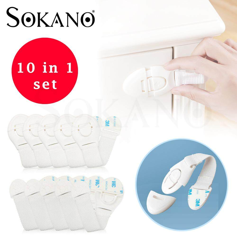 (RAYA 2019) SOKANO TC0798 Child Baby Cupboard Cabinet Safety Locks Proofing Door Drawer Fridge Locks Kid Safety (Bundle Set of 10 Pcs)