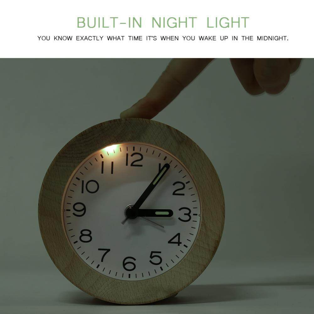 Clocks Beech Wooden Mute Silent Alarm Clock Home Office Desk Bedroom With Led Night
