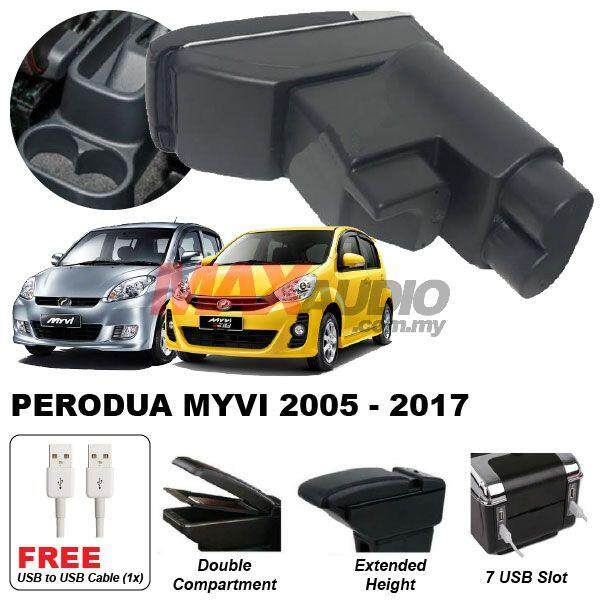 [FREE GIFT] PERODUA MYVI SE1 SE2 LE 2005 - 2010 Premium Quality Adjustable Black Leather With Red Stitch Arm Rest with USB Charger Extension & Cup Holder
