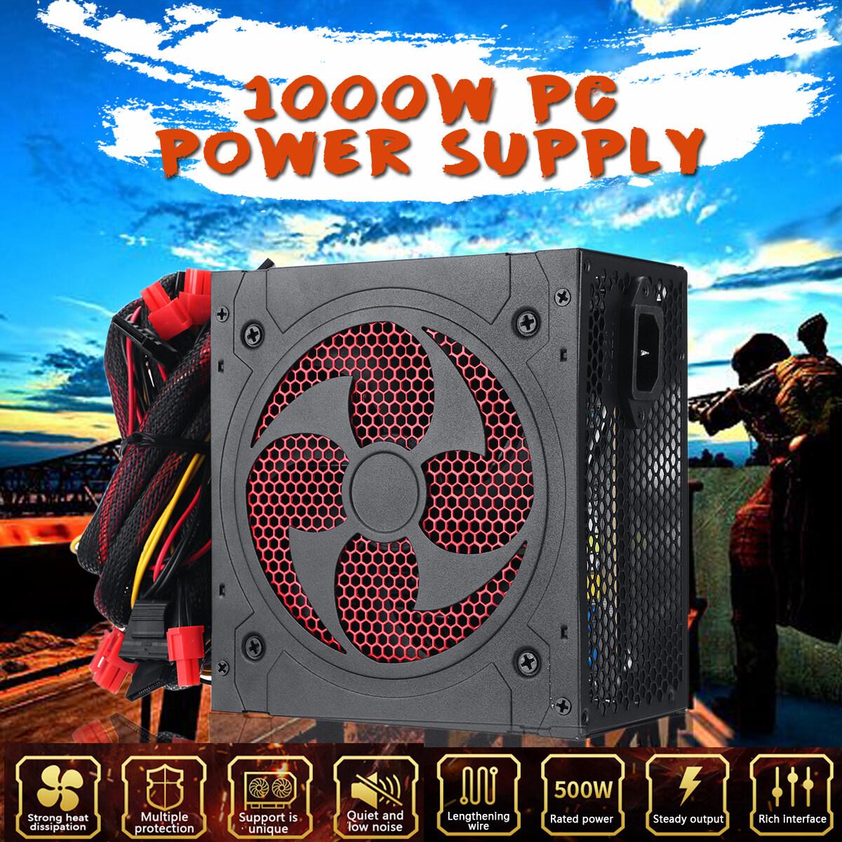 Max 1000W Power Supply PSU PFC Silent Fan ATX 12V PC Computer SATA Gaming PC Power Supply For Intel AMD Computer