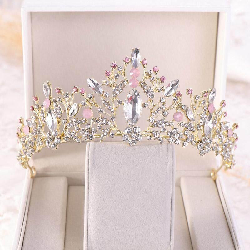 Wanita Berwarna Merah Muda Kristal Paduan Hiasan Kepala Mahkota Putri Mahkota Perak Emas Pengantin Aksesoris Rambut