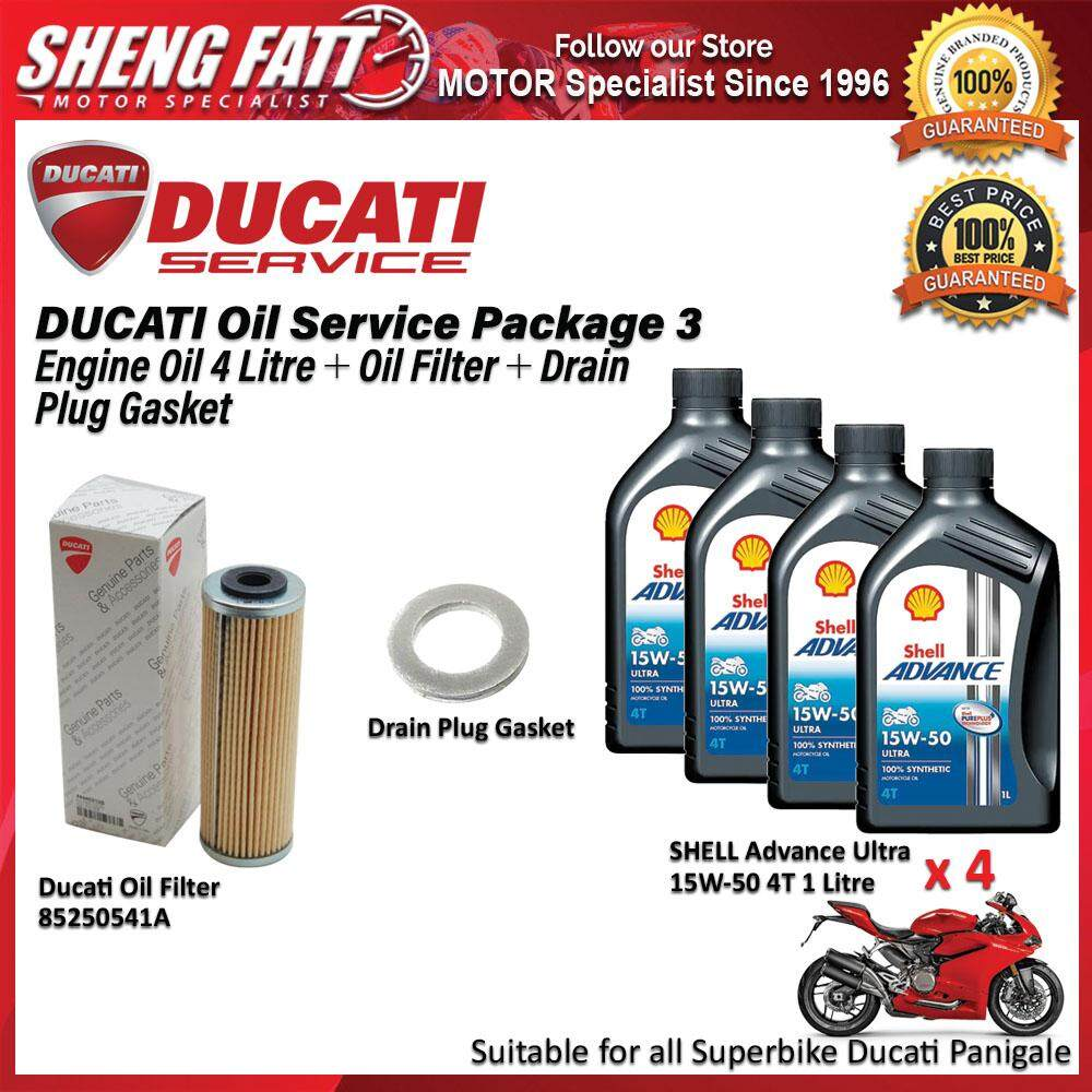 DUCATI Panigale Oil Service Package for Superbike (SHELL Engine Oil 4 Litre + Oil Filter + Drain Plug Gasket)
