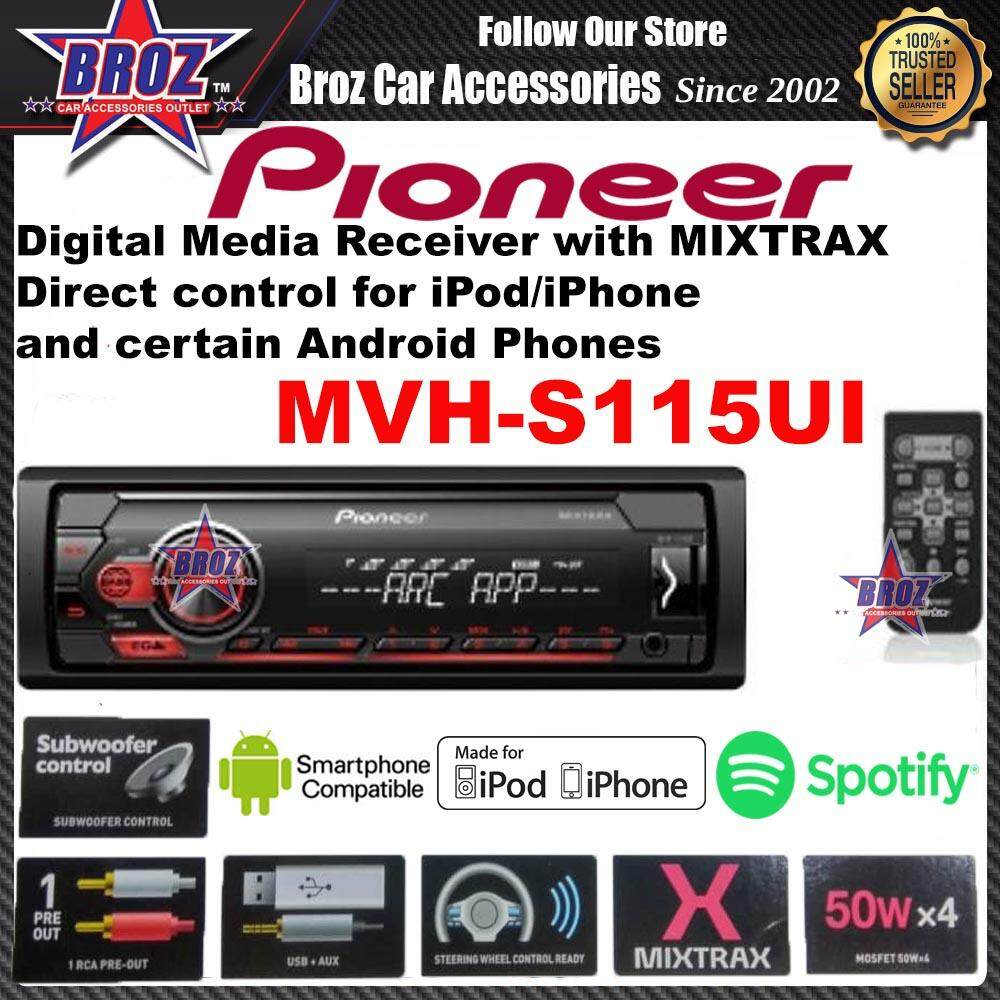PIONEER MVH-S115UI CAR PLAYER WITH MIXTRAX,DIRECT CONTROL FOR IPOD/IPHONE AND CERTAIN ANDROID PHONES