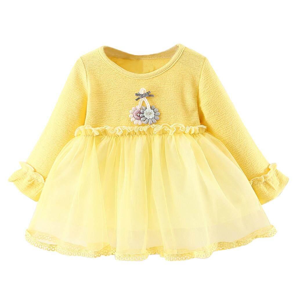 Balita Anak-anak Bayi Baju Wanita Lengan Panjang Bunga Pakaian Renda Pesta Gaun Putri ...