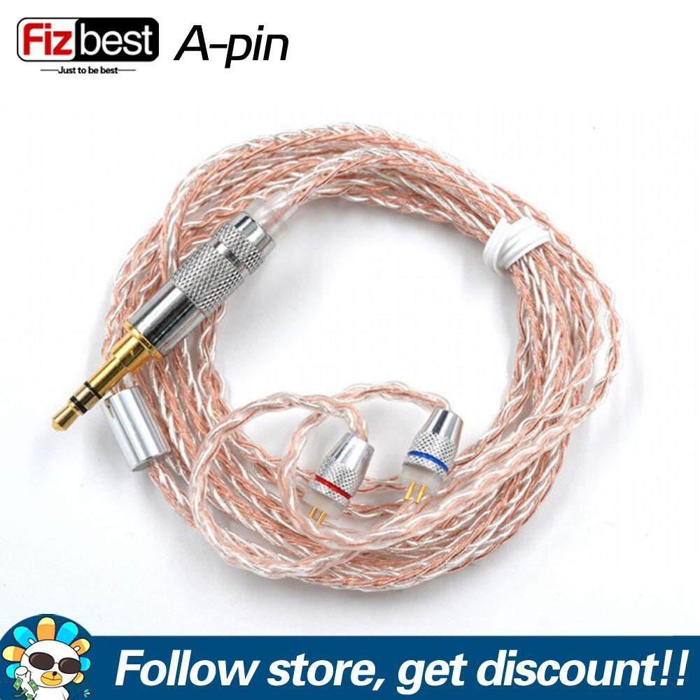 KZ 8 Core Silver Copper Mixed Upgrade Earphones Replacement Cable 3.5 mm Audio Cable with 2pins 0.75mm Connector Detachable IEM Cable Fit for KZ BA10 AS10 ZS10 ZSR ZST ED12 ES3 ES4 ZSN 2pin B