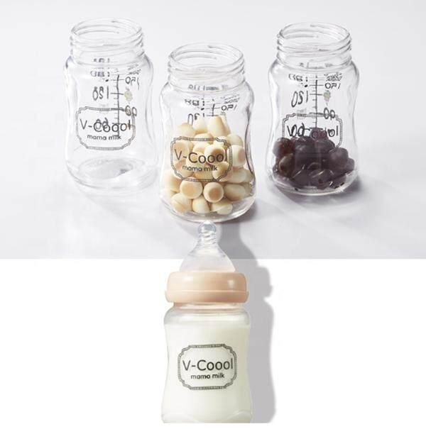 V-Coool Thick Borosilicate Glass breast milk storage bottle-Wide neck 180 ml