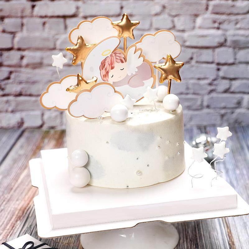 Amazing 1 Set Angel Moon Stars Babys Theme 1St Birthday Cake Decoration Funny Birthday Cards Online Alyptdamsfinfo
