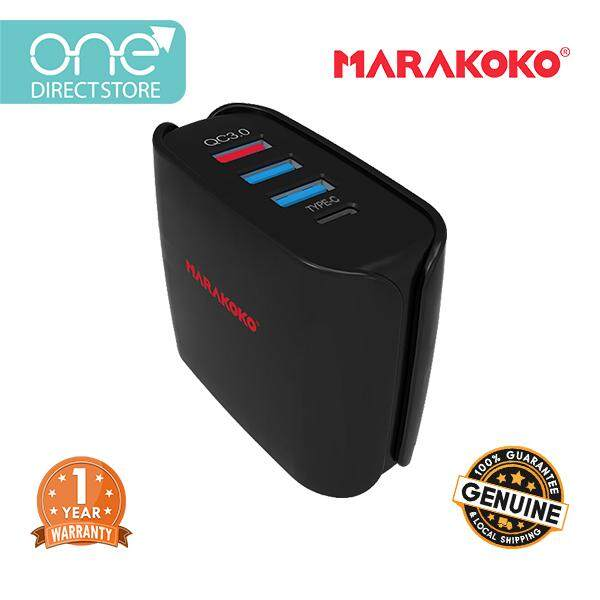 Marakoko 30W Type-C 4 Port Universal Travel Charger (QC3.0, Smart Charge 2.4A, Type-C 3A) Include UK & EU Plug- MA11