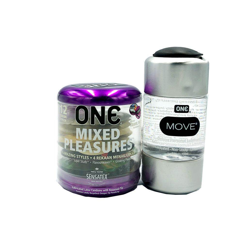 One Mixed Pleasures Condoms 12s + One Move Silicone Lubricant for Sex (Long Lasting)