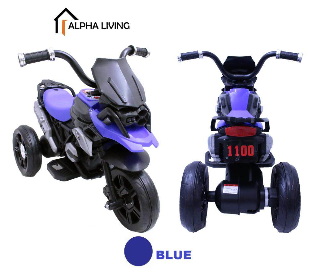 Alpha Living TOY0080BU 3-Wheel Children Electric Motorbike Tricycle Motorcycle Rechargeable Battery for Age 1 to 5 Year Old Kids (69 x 47 x 53 cm)