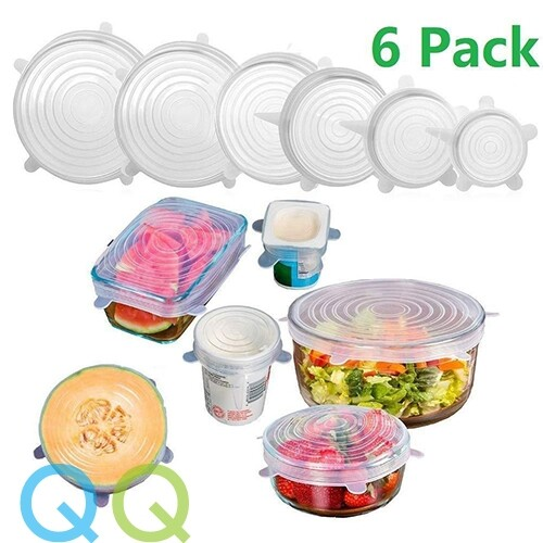 QQ 6 Pcs/set Universal Food Pot Dish Lunch Box Cover Reusable Silicone Stretch Lids Seal Bowl Wraps Food Fresh Cover