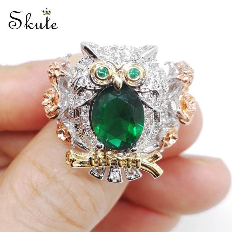 Skute Perhiasan Wanita Kristal Berlapis Perak Berlian Imitasi Cincin Burung Hantu Pernikahan Hadiah Perhiasan Pertunangan ?