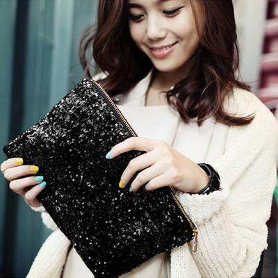 Women's Trendy Sweet Lady Sequins Retro Envelope Hand Bag