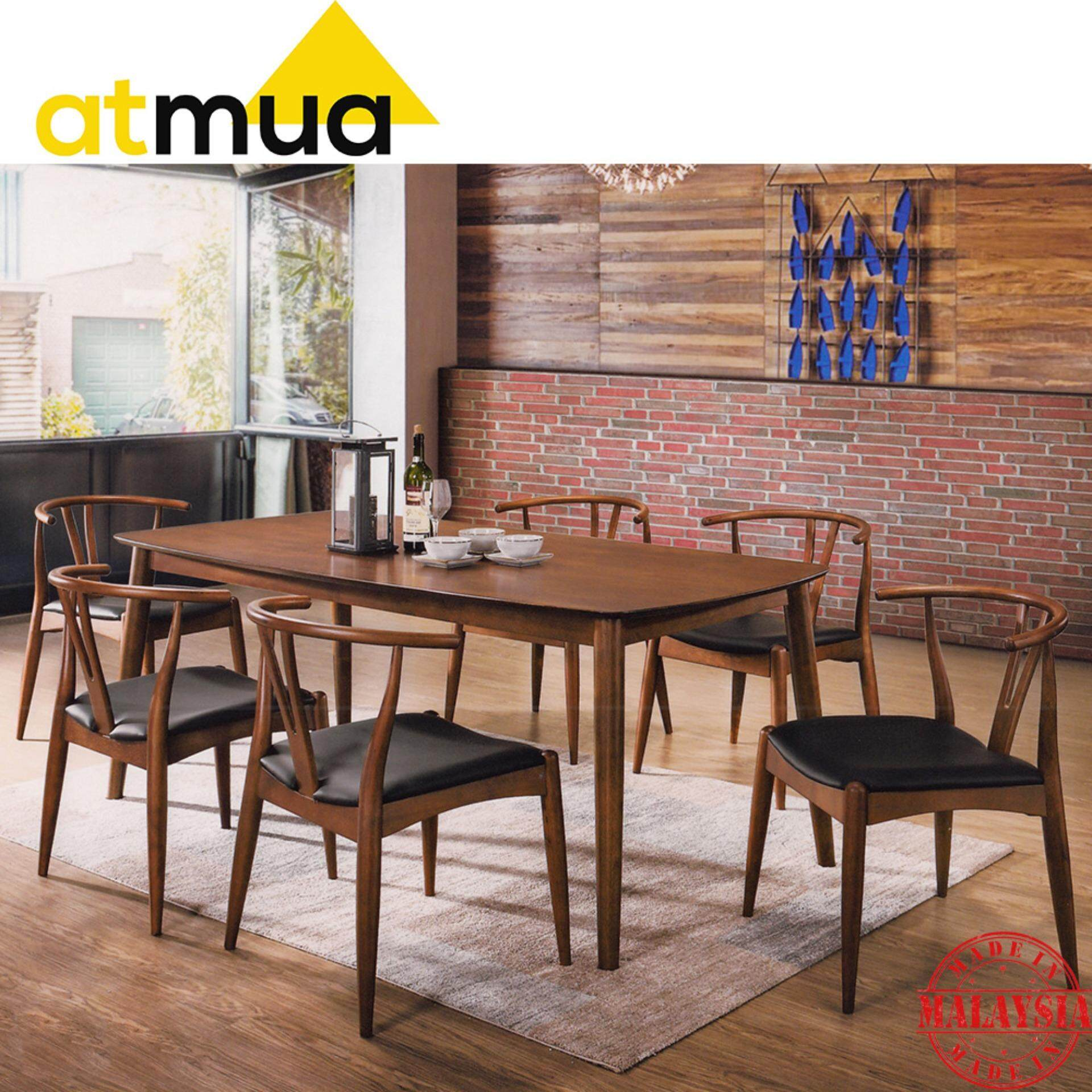Atmua Coal Dining Set (1 6 Feet Table + 6 Chairs) (Modern Style) [Full Solid Rubber Wood]