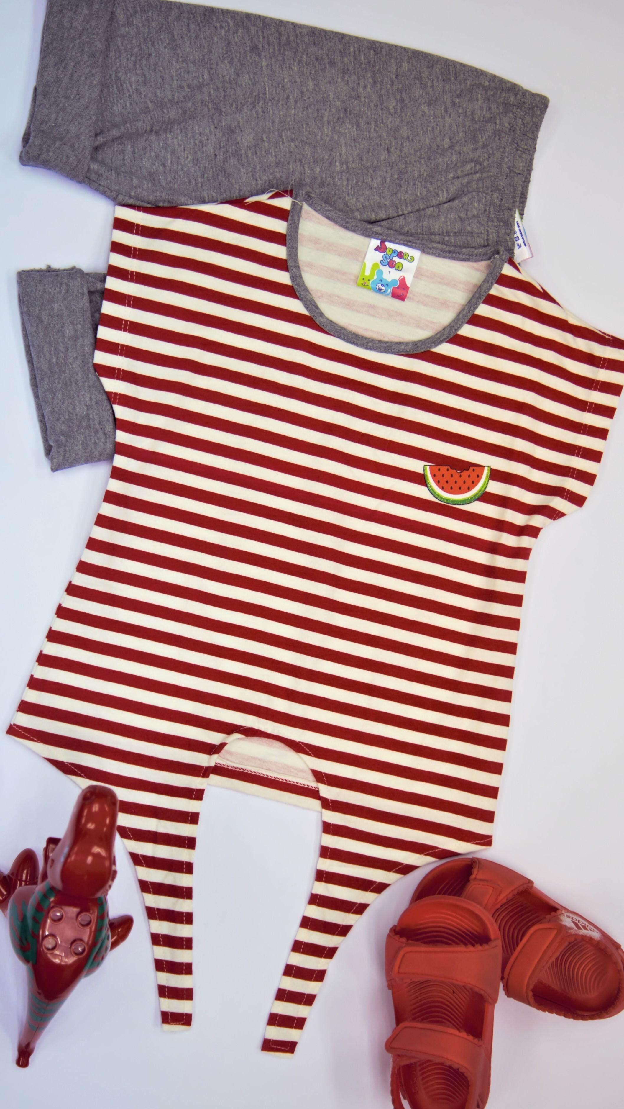 Super Sun Toddler Girl Short Sleeve Set(Top + Bottom) GS-01C Red