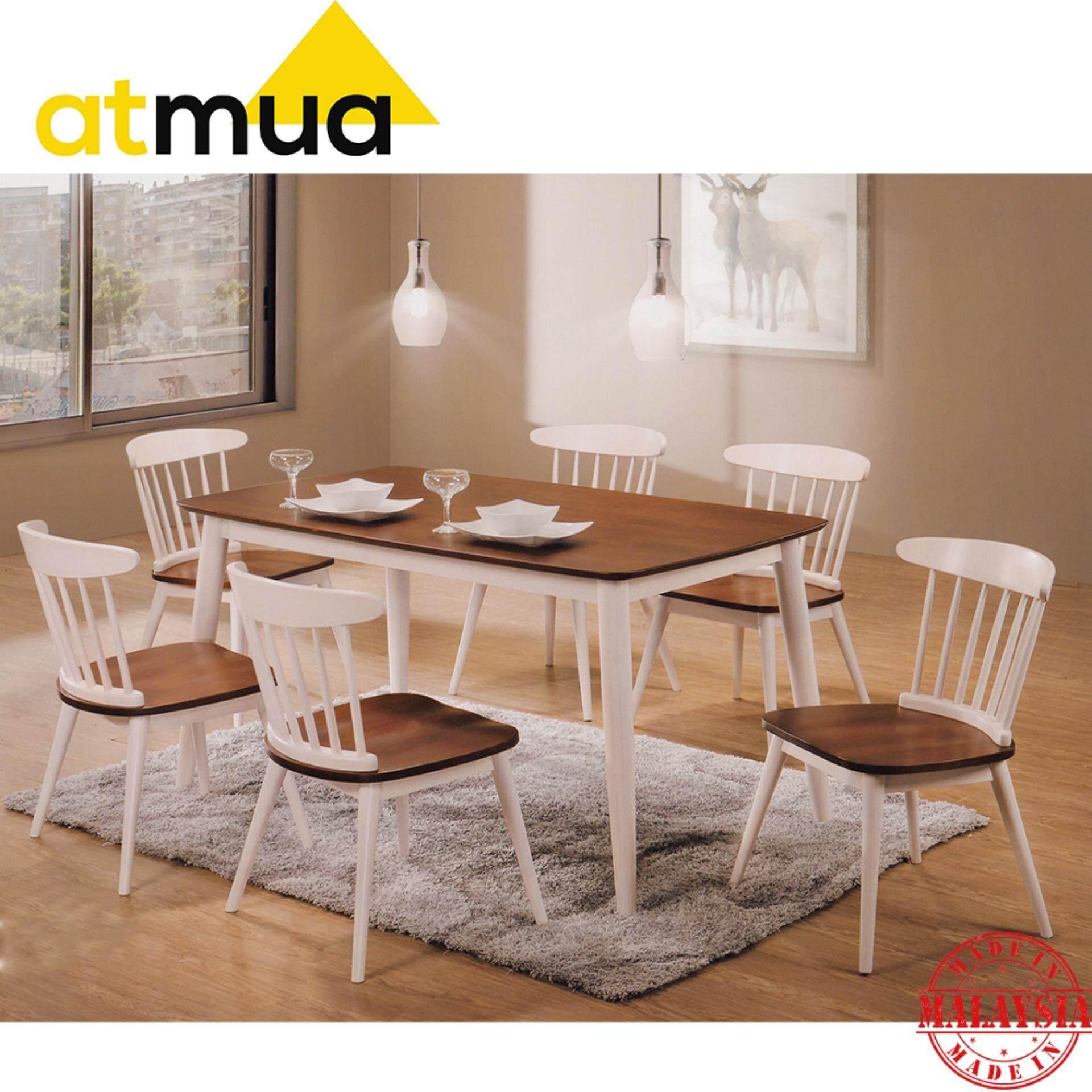 Atmua Gordon Scandinavian Dining Set (1 Table + 6 Chair) [Full Solid Rubber Wood]