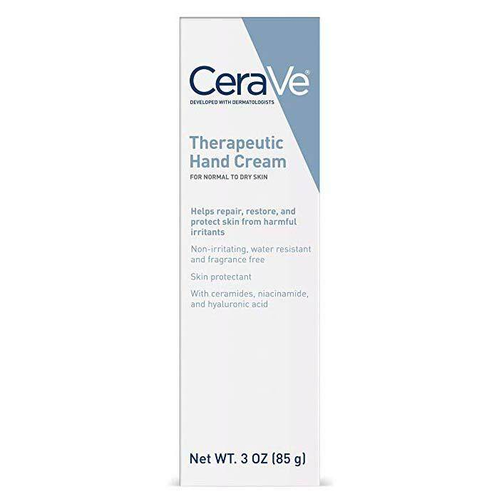 CeraVe Therapeutic Hand Cream for Dry Cracked Hands  3 Ounce  With Hyaluronic Acid and Niacinamide  Fragrance Free