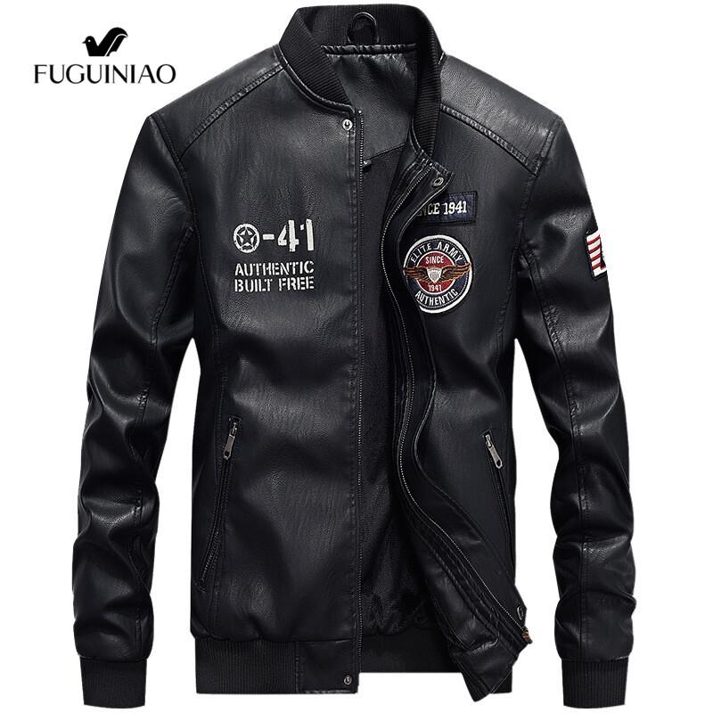 Fuguiniaoแจ็กเก็ตหนังผู้ชายสีดำ,เสื้อแจ็กเก็ตเบสบอลจั๊มเอวเสื้อโค้ททรงนักบินผ้าฟลีซเสื้อแจ็กเก็ตมอเตอร์ไซค์ทรงสลิมฟิต