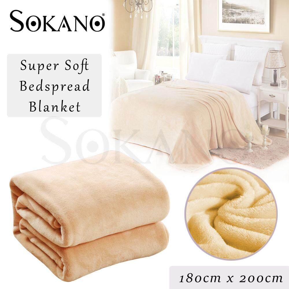 (RAYA 2019) SOKANO Flannel Blanket Super Premium Grade King Size (180cm x 200cm) High Quality Super Soft Flannel Plain Bedspread Blanket Throws Fleece Blanket Manta Coberto For Sofa/Bed/Car/Office