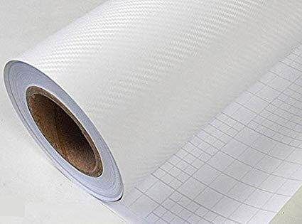 3D Carbon Fiber Decal Vinyl Film Wrap Roll Adhesive Car Sticker Sheet White