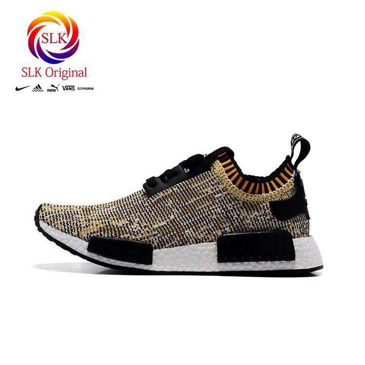 ยี่ห้อไหนดี  นราธิวาส SLK เดิม★Adidas NMD ผู้ชายและผู้หญิงรองเท้าลำลองรองเท้าวิ่งสีทอง