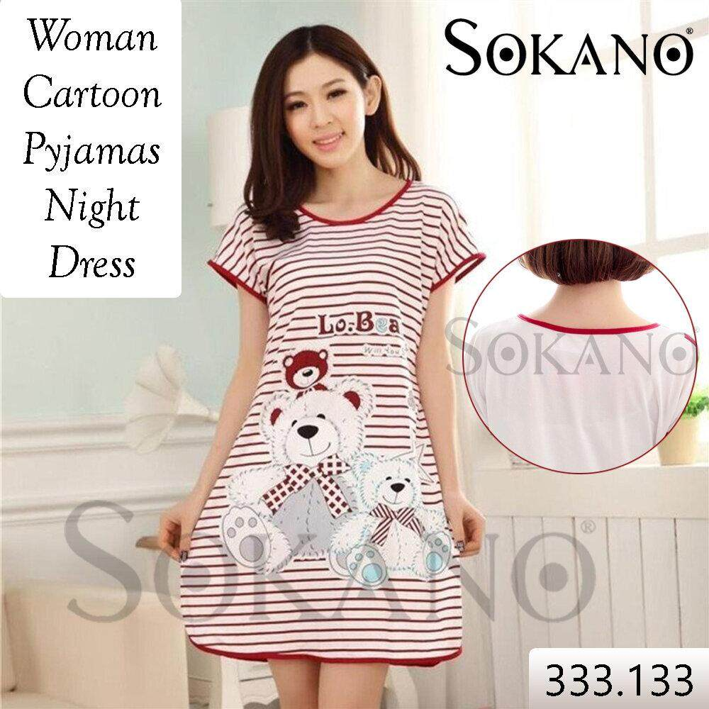 SoKaNo Trendz Woman Cartoon Pyjamas Night Dress Baju Tidur