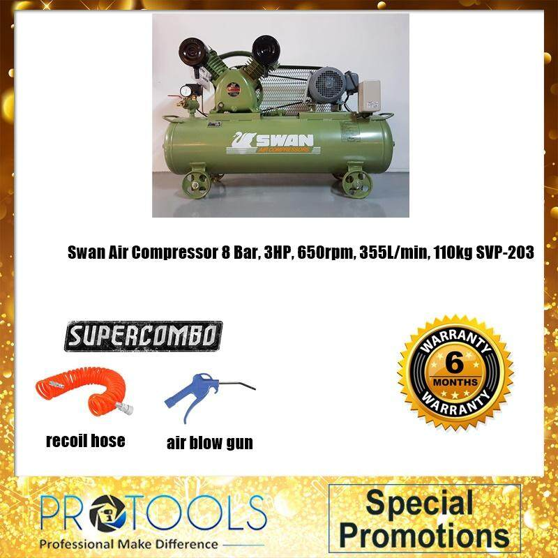 Swan Air Compressor 8 Bar, 3HP, 650rpm, 355L/min, 110kg SVP-203 COMBO SET