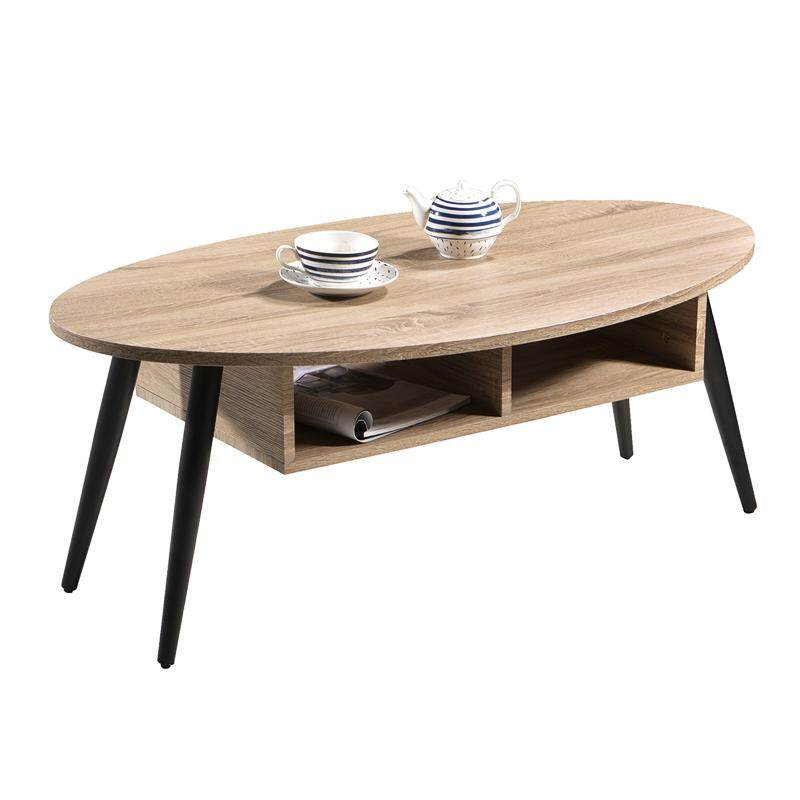 Designer Series Round Coffee Table - Walnut + Black