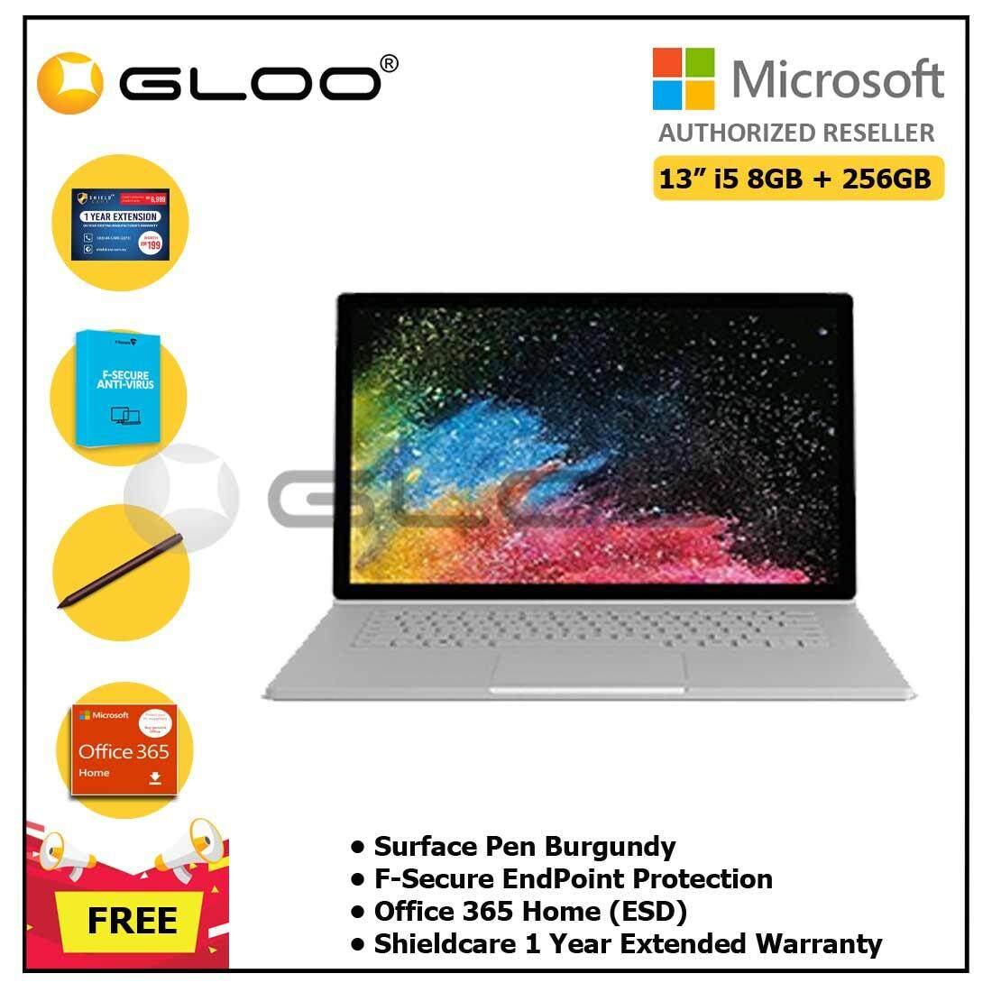 """Microsoft Surface Book2 13"""" Core i5/8GB RAM - 256GB + Shieldcare 1 Year Extended Warranty + F-Secure EndPoint Protection + Office 365 Home ESD + Pen Burgundy"""