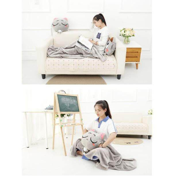 【Open Eye - Brown】2 in 1 Cute Kitty Plush Toy Comfort Pillow & Blanket Throw Cushion