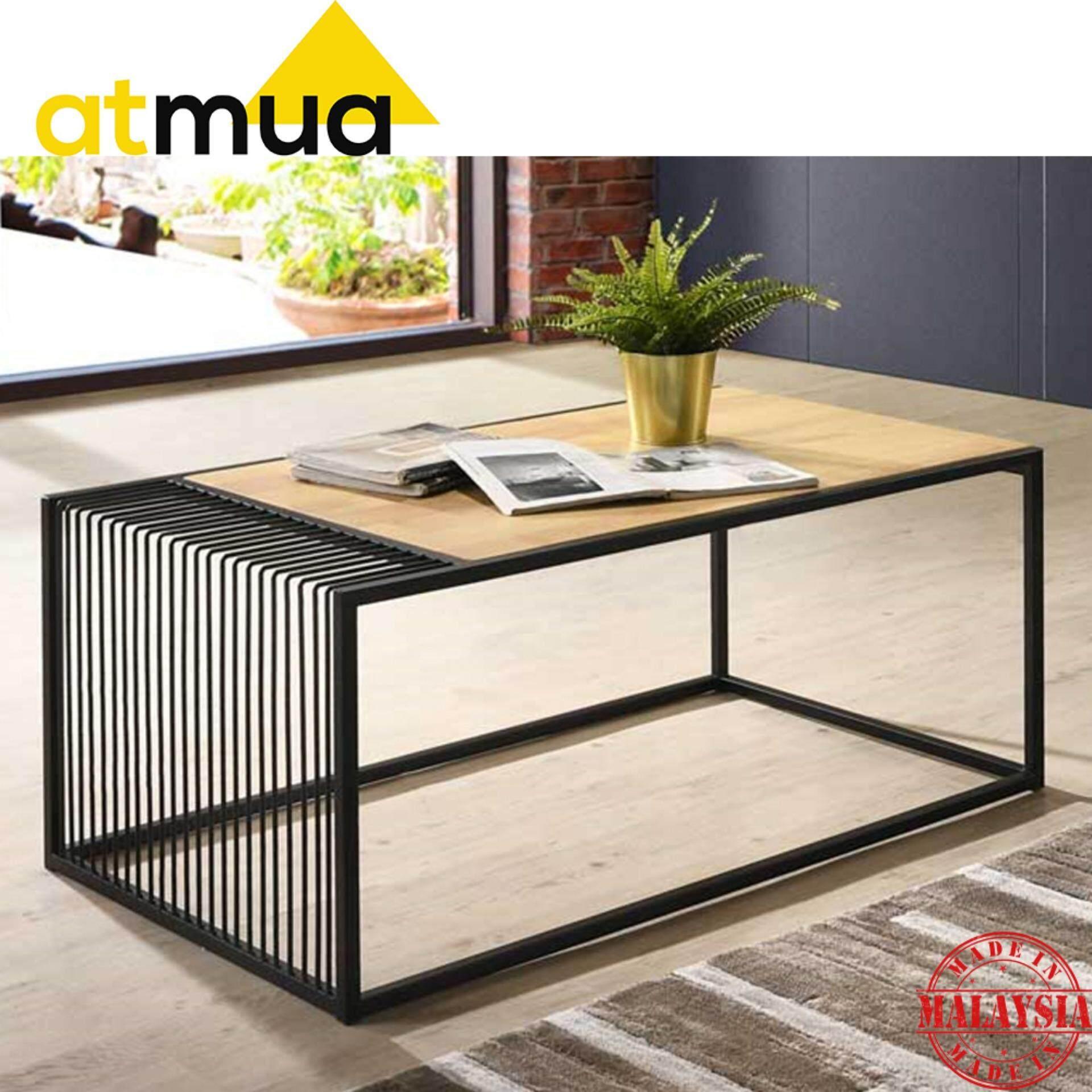 Atmua Wander Coffee Table LOFT Design [Rubber Wood Top with Metal Leg]