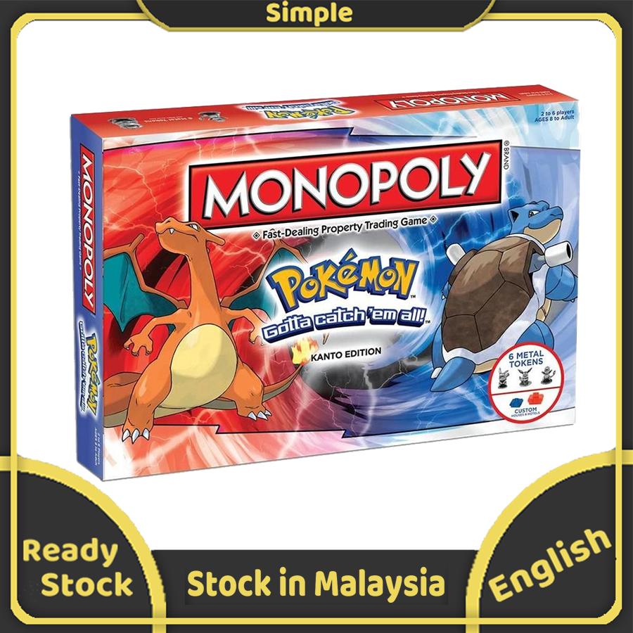 MONOPOLY Pokemons การ์ดเกมสำหรับครอบครัวเกมปาร์ตี้ห้องพักช่วงวันหยุดเด็ก UNO