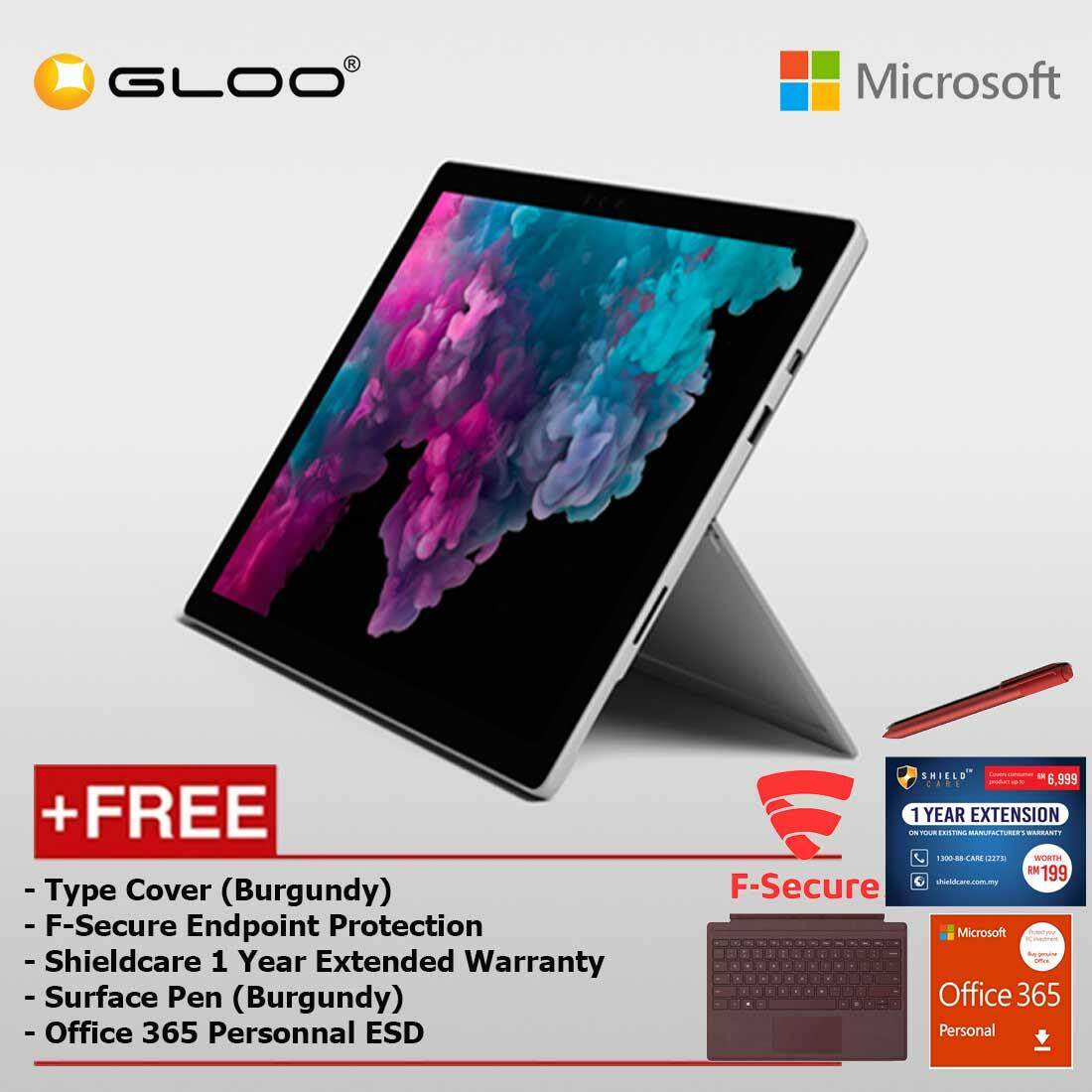 Microsoft Surface Pro 6 Core i5/8GB RAM -128GB + Type Cover Burgundy + F-Secure End Point Protection +Shieldcare 1 Year Extended Warranty + Pen Burgundy + Office 365 Personal (ESD)