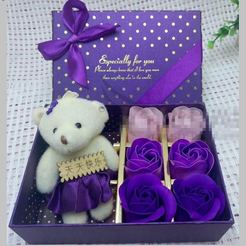 Romantic Bath Soap Gift Box with 6 Rose Flower+1 Bear