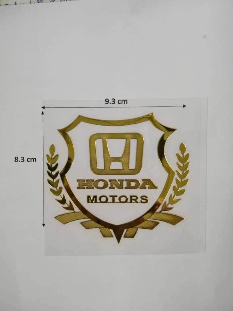 Exclusive HONDA MOTOR VIP Premium Car Sticker for Number Plate Frame / Petrol Tank Opener / Car body (9.3 X 8.3 CM) GOLD COLOUR