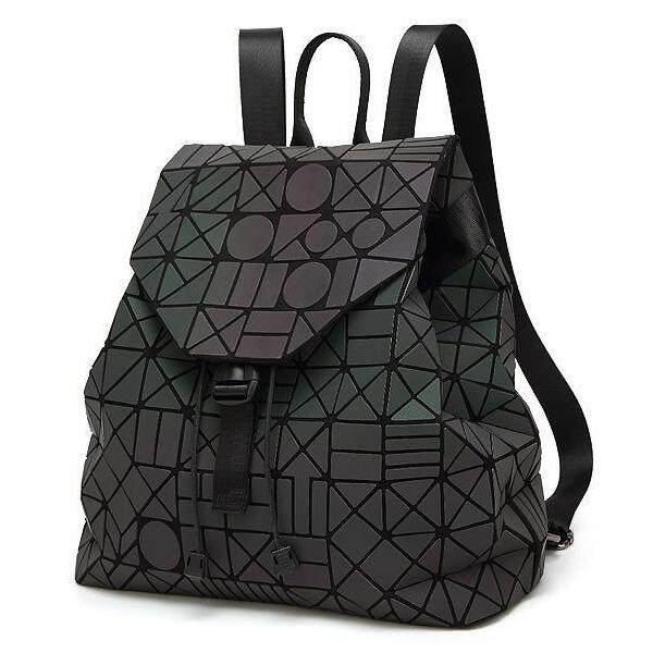 ALP Bao for Travel Unisex Stylish 2018 / 2019 3D Backpack Triangle Pattern Geometric Rhombic Shiny Petal Plated Bag (Black / Deep Black / White)