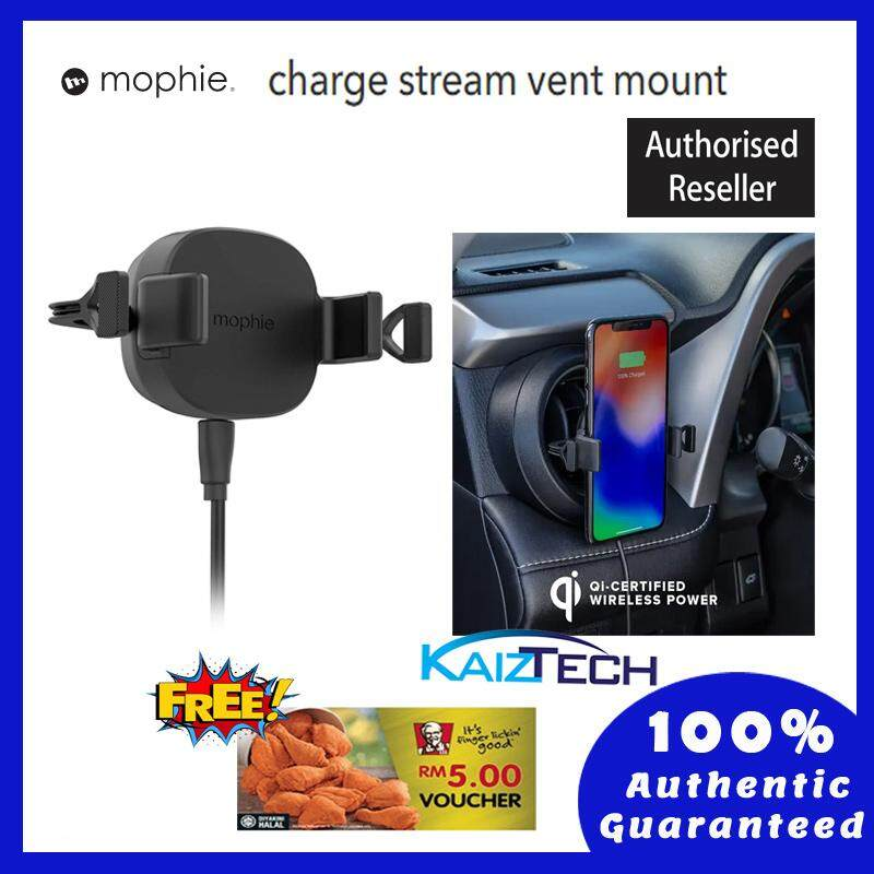 Mophie Wireless Charge Stream Vent Mount - 10W of power to Qi-enabled smartphone - Black