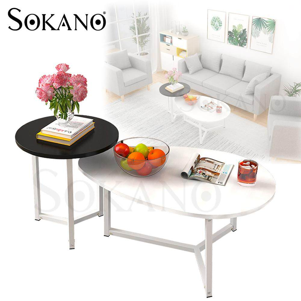(BUNDLE SET OF 2) SOKANO Japanese Style Tea Table Set Coffee Table Set Wooden Surface with Steel Structure Meja Ruang Tamu