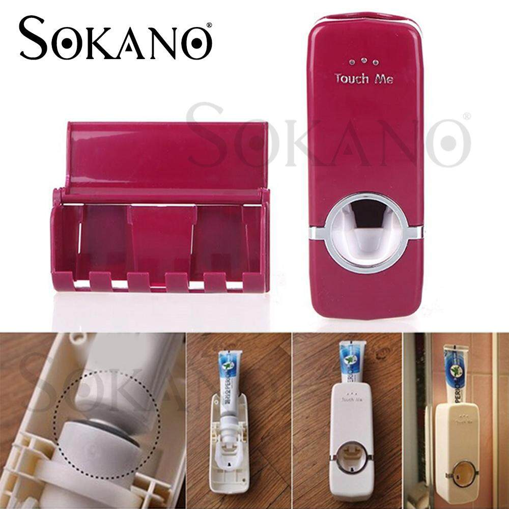 SOKANO Toothpaste Dispenser Tooth Brush Holder Bathroom Rack Dustproof with Suction Pad Wall Mounted