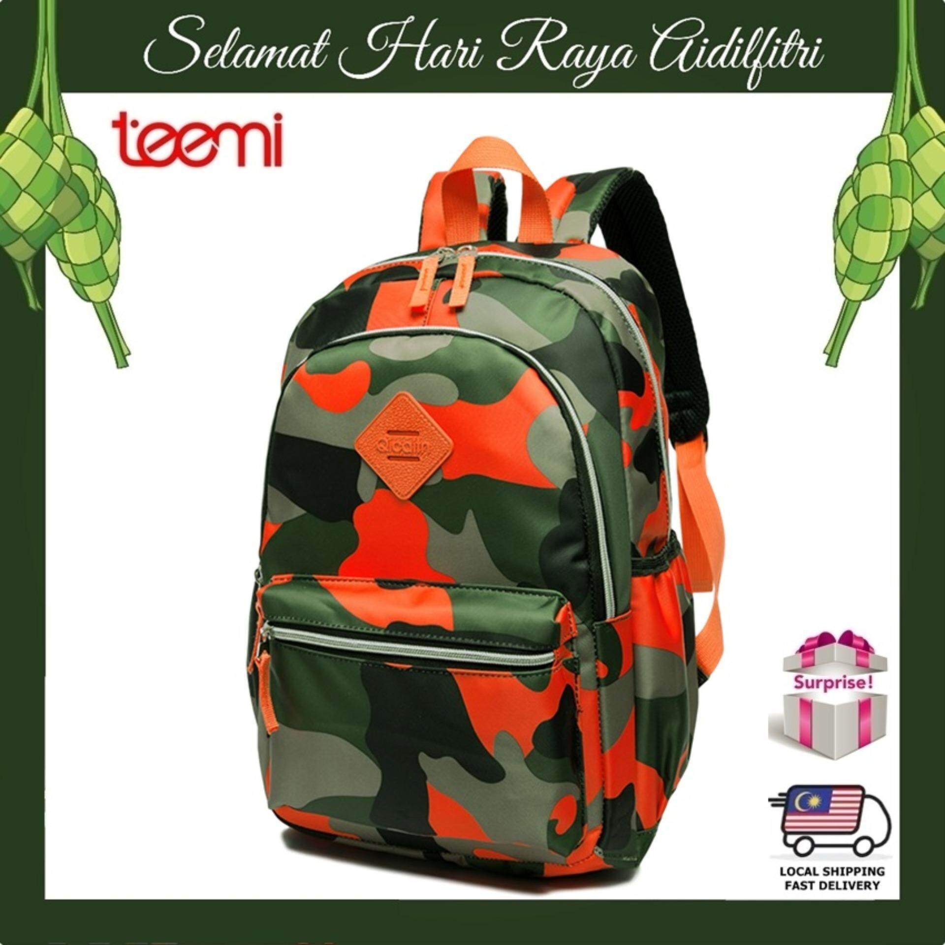 TEEMI Camouflage Army Pattern Nylon Primary Secondary School Bag Kids Teenager Backpack - Orange