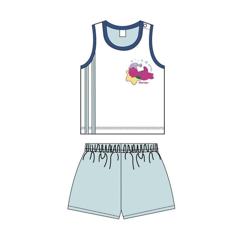 Barney And Friends Sleeveless Homewear 100% Cotton 0mth to 2yrs - Blue Colour