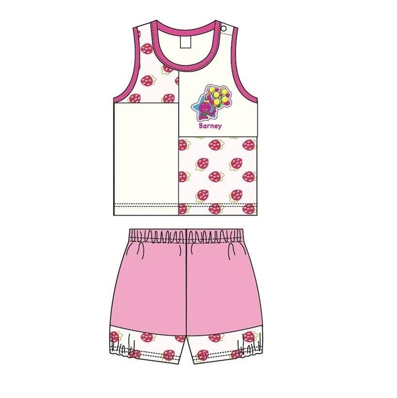 Barney And Friends Sleeveless Homewear 100% Cotton 0mth to 2yrs - Pink Colour