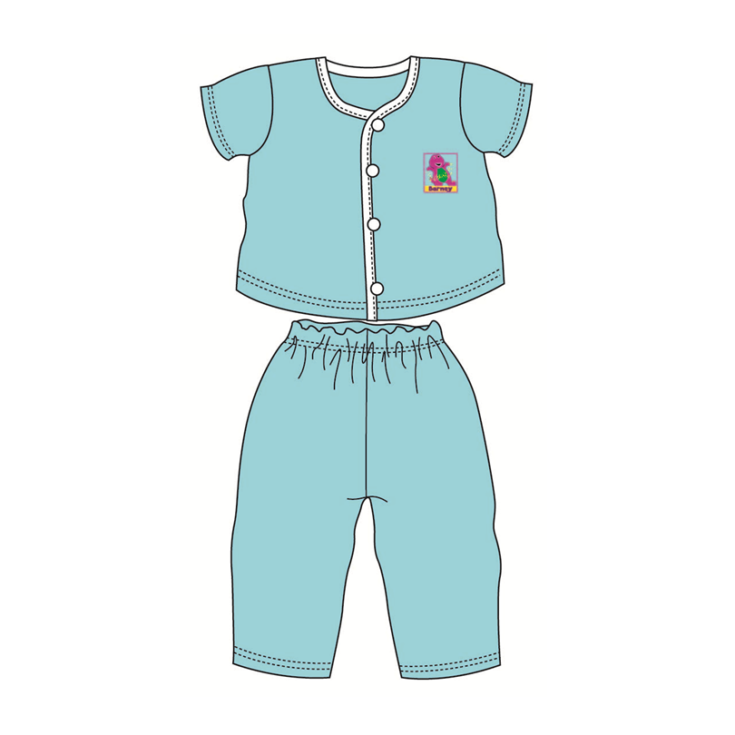 Barney Baby Suit-Short Sleeve 100% Cotton 0mth to 18mth - Blue Colour