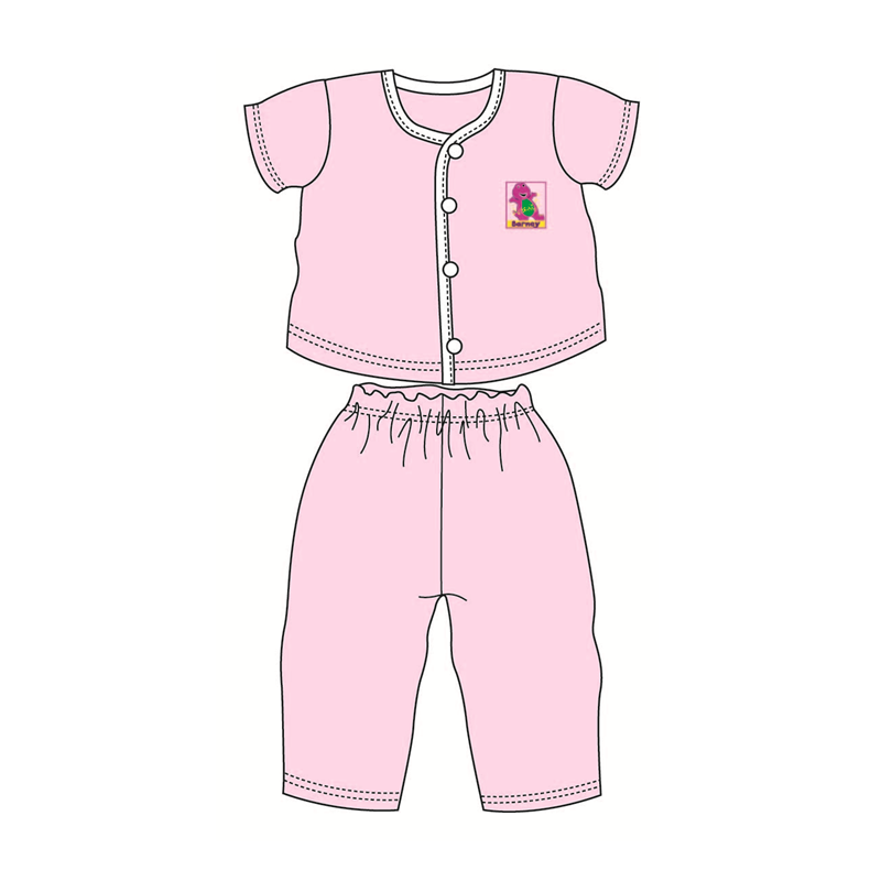 Barney Baby Suit-Short Sleeve 100% Cotton 0mth to 18mth - Pink Colour