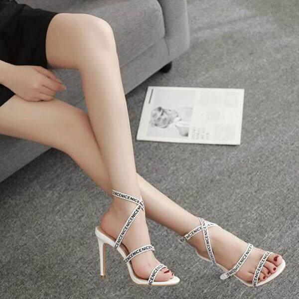 Detail Gambar Baru 11 Cm Sandal Hak Tinggi Sepatu untuk Wanita Stiletto Pompa Ular Wanita Sandal Hak Tinggi Wanita Kasual Sepatu Ukuran Besar 35-40 Terbaru