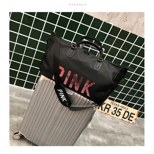 READY STOCK QQ Bling PINK Large Tote Bag Gym Luggage Shoe Travel Shoulder Big Sling Bags Waterproof Beg