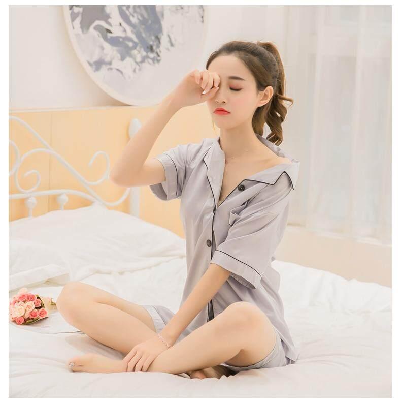 【SIMPLE & NICE】Malaysian Summer Plain Design Nightwear Pyjamas (Blue/Pink/Champagne/Red/Purple/Green/Silver - Size: M-XXL)