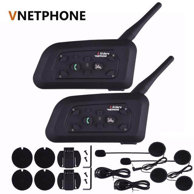 Vnetphone V6-1200 M Motor Helm Bluetooth 3.0 Intercom Multi 6 Pengendara Headset Interphone Kit