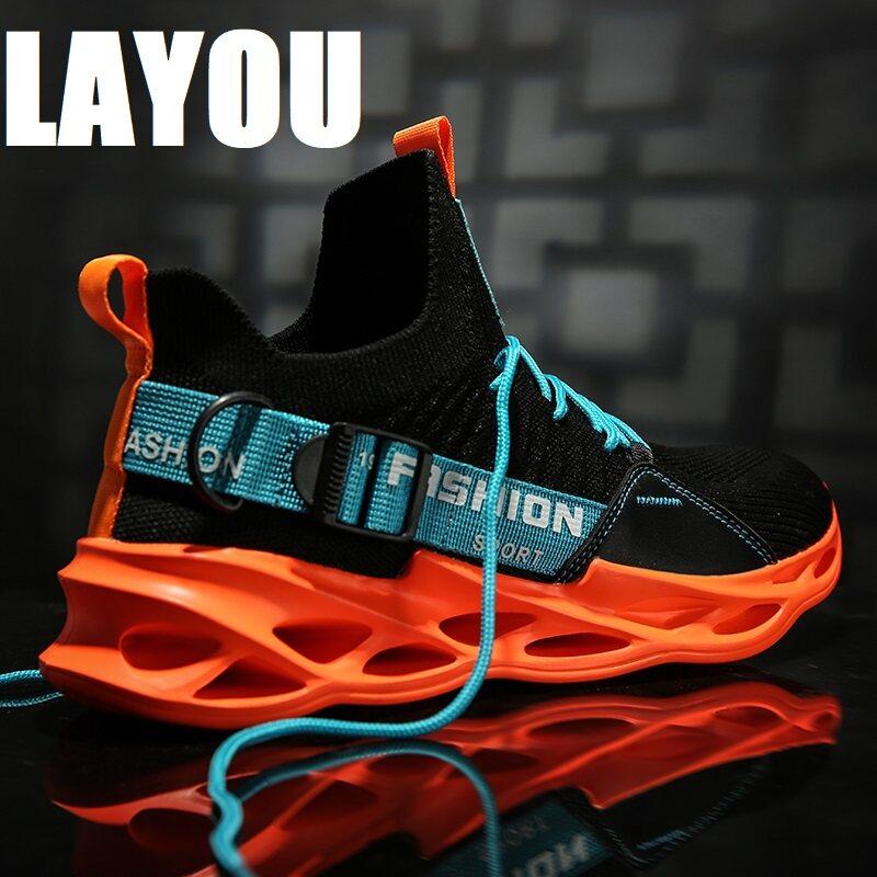 Layou Siêu Nhẹ Triều Giày Giày Thoáng Khí Xu Hướng Hoang Dã Cổ Phố Cá Tính Chống Trơn Trượt Giày Sneaker Thời Trang Nam giày (Sẵn Sàng Hàng)